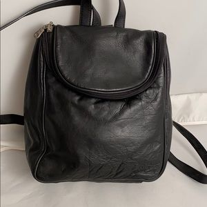 Rock Bun black leather small backpack